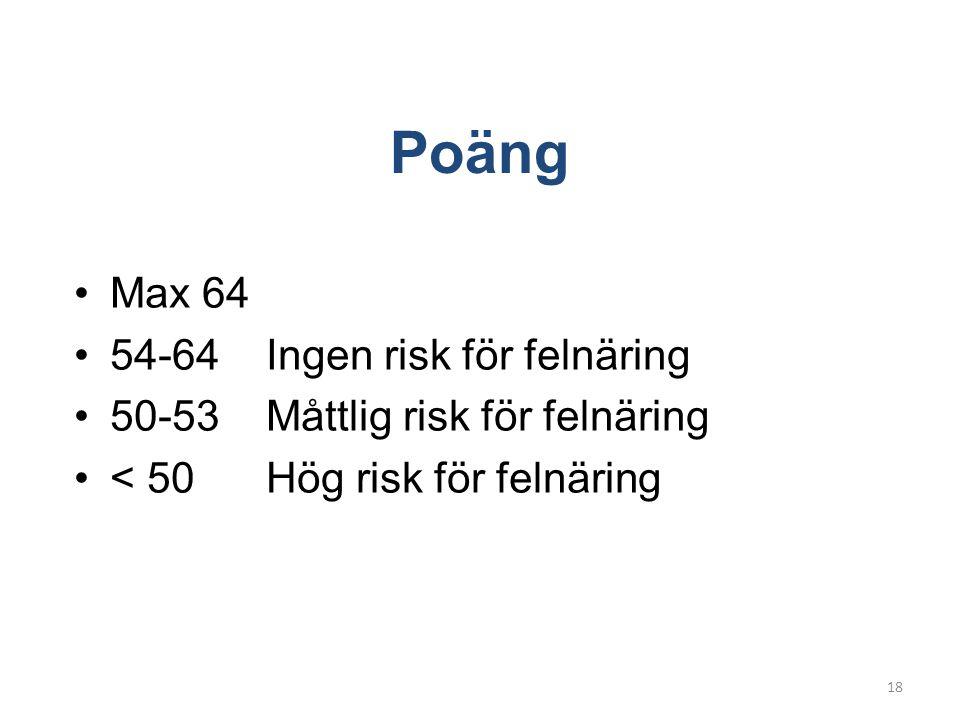 Poäng Max 64 54-64 Ingen risk för felnäring