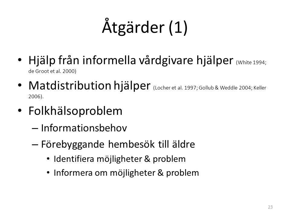 Åtgärder (1) Hjälp från informella vårdgivare hjälper (White 1994; de Groot et al. 2000)