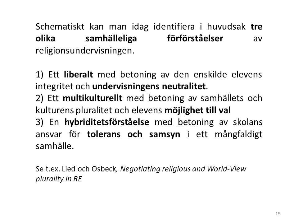 Schematiskt kan man idag identifiera i huvudsak tre olika samhälleliga förförståelser av religionsundervisningen.