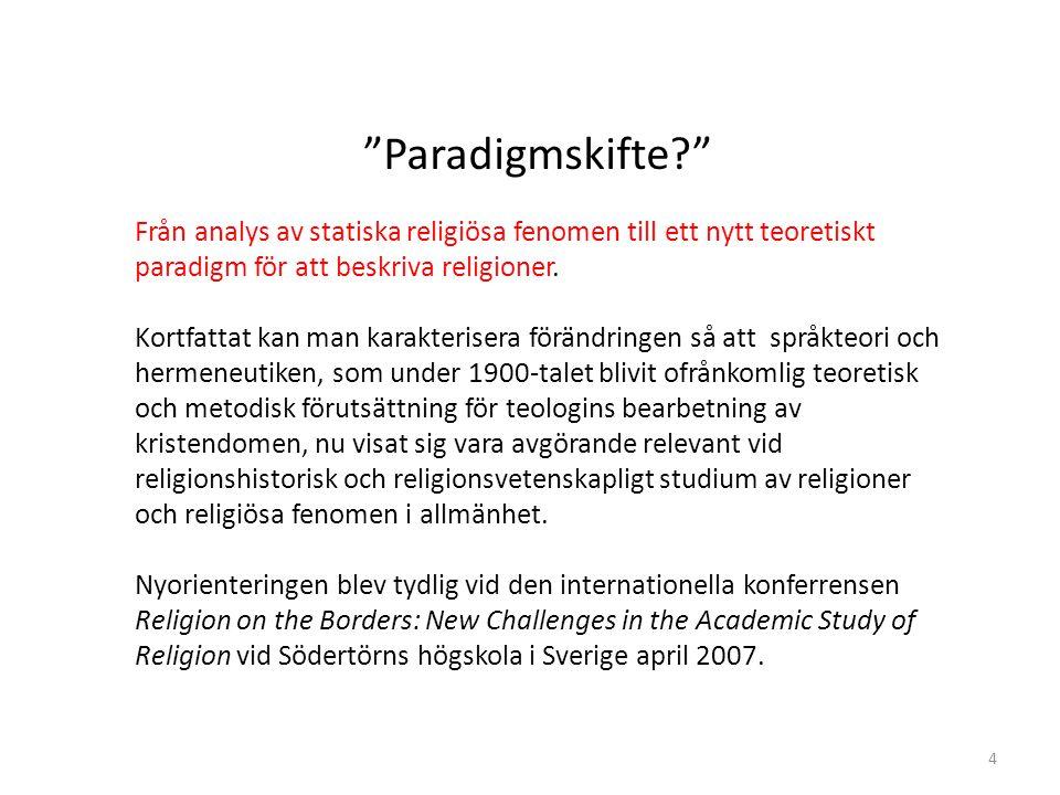 Paradigmskifte Från analys av statiska religiösa fenomen till ett nytt teoretiskt paradigm för att beskriva religioner.