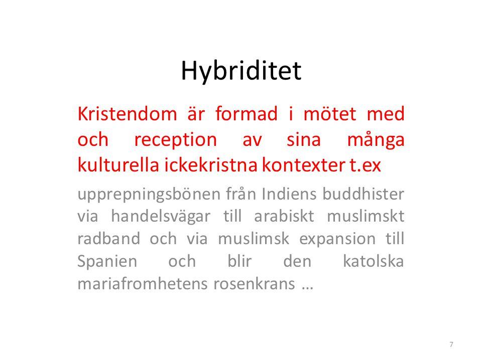 Hybriditet Kristendom är formad i mötet med och reception av sina många kulturella ickekristna kontexter t.ex.