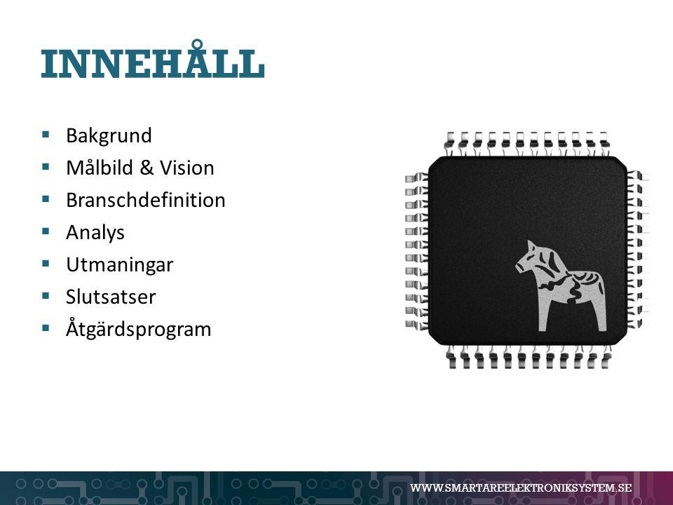 INNEHÅLL Bakgrund Målbild & Vision Branschdefinition Analys Utmaningar