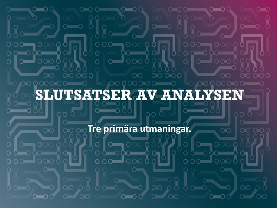 SLUTSATSER AV ANALYSEN Tre primära utmaningar.