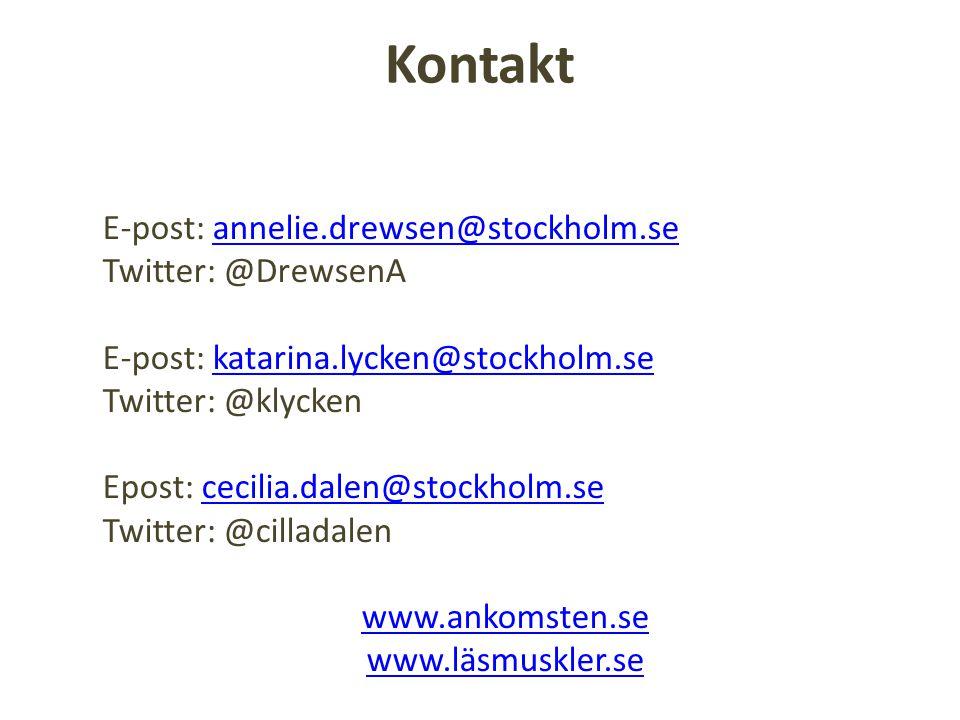 Kontakt E-post: annelie.drewsen@stockholm.se Twitter: @DrewsenA