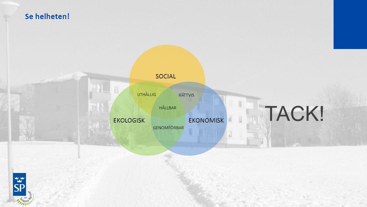 TACK! Se helheten! SOCIAL EKOLOGISK EKONOMISK UTHÅLLIG RÄTTVIS HÅLLBAR