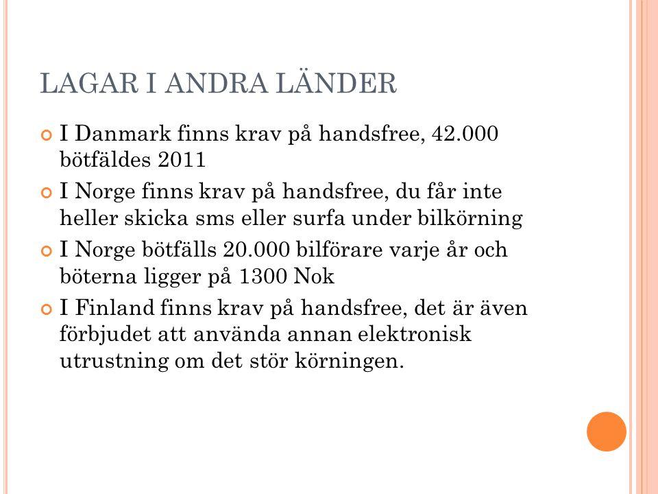 LAGAR I ANDRA LÄNDER I Danmark finns krav på handsfree, 42.000 bötfäldes 2011.