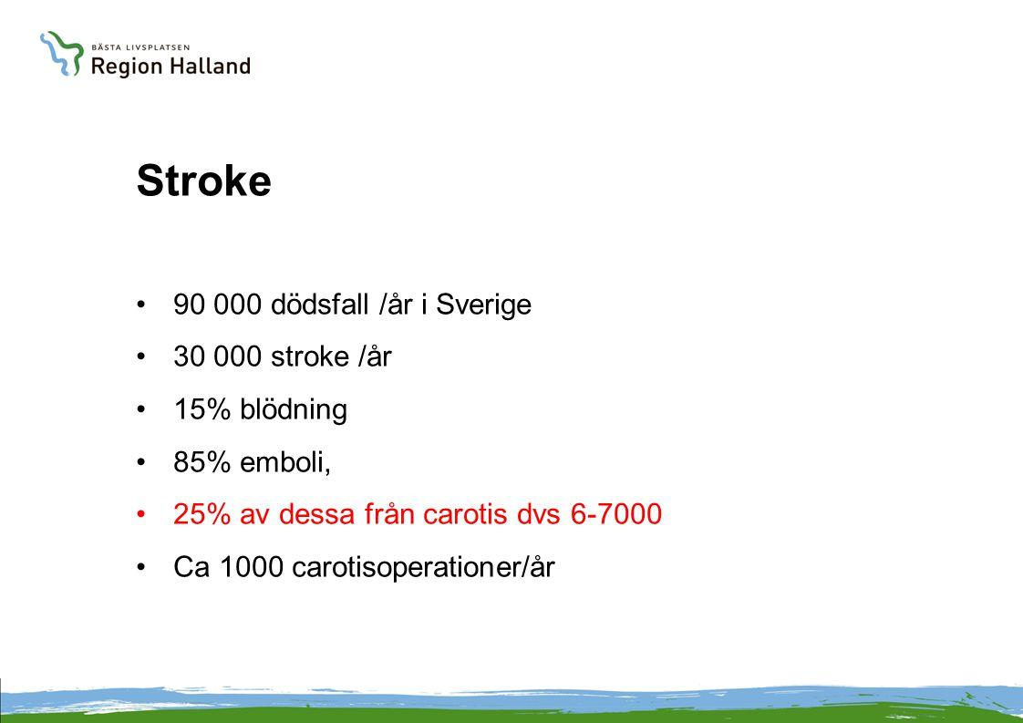 Stroke 90 000 dödsfall /år i Sverige 30 000 stroke /år 15% blödning