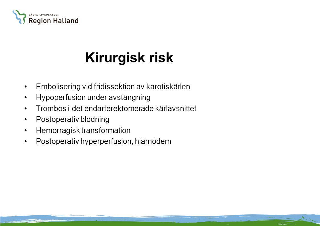 Kirurgisk risk Embolisering vid fridissektion av karotiskärlen