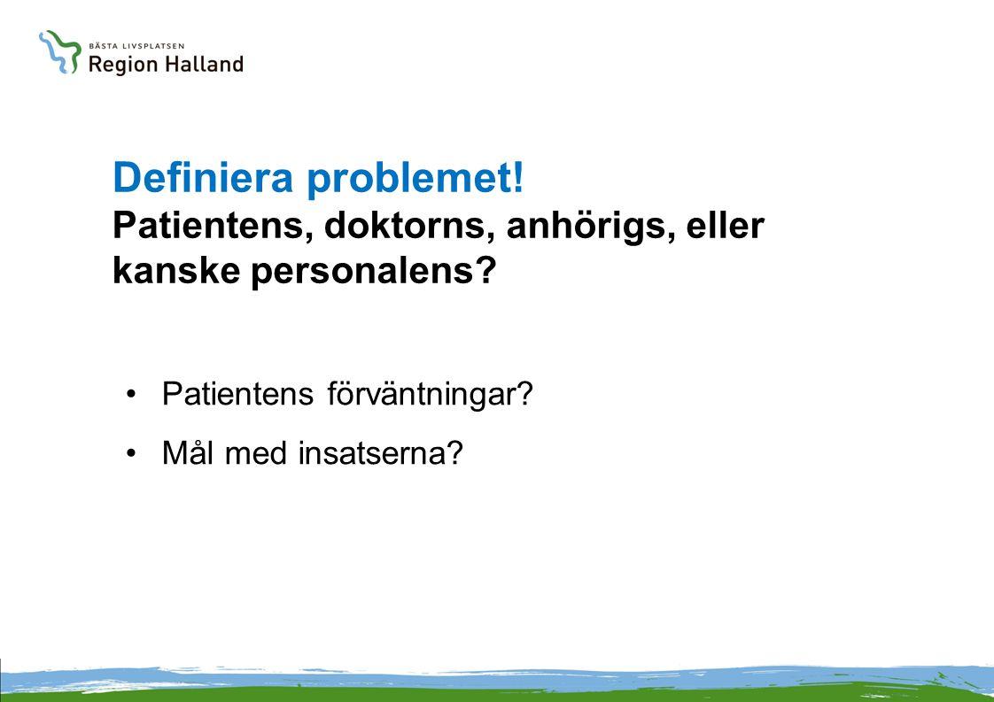 Definiera problemet! Patientens, doktorns, anhörigs, eller kanske personalens