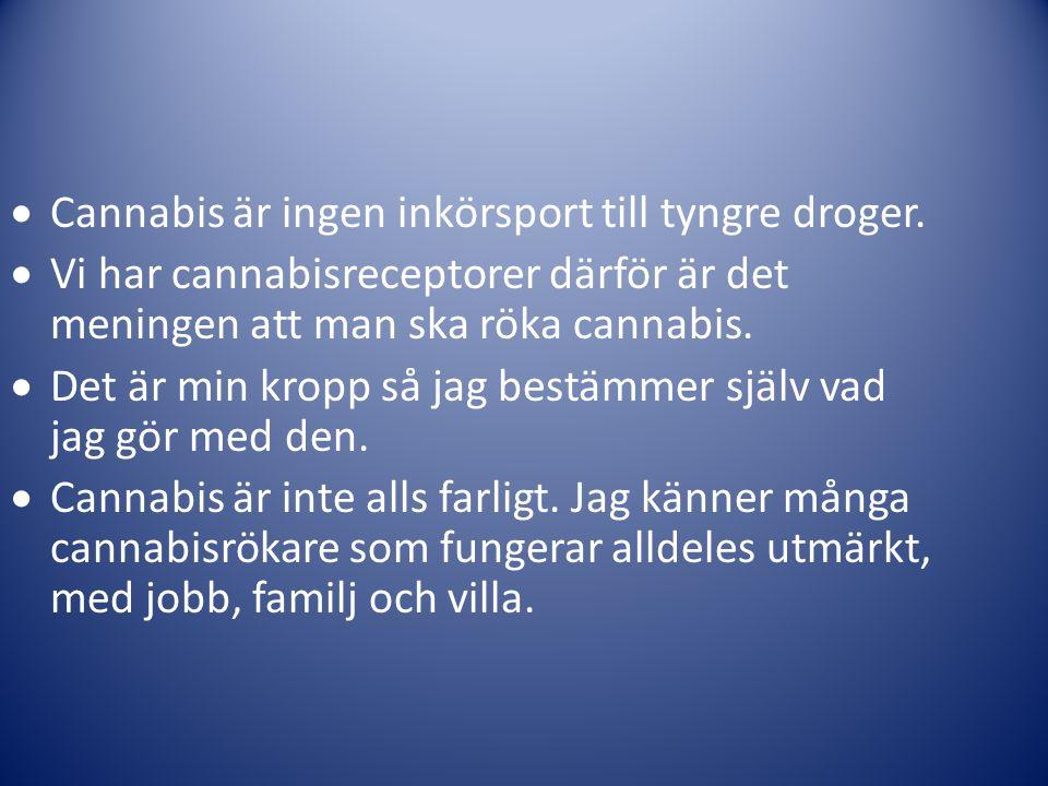 Cannabis är ingen inkörsport till tyngre droger.