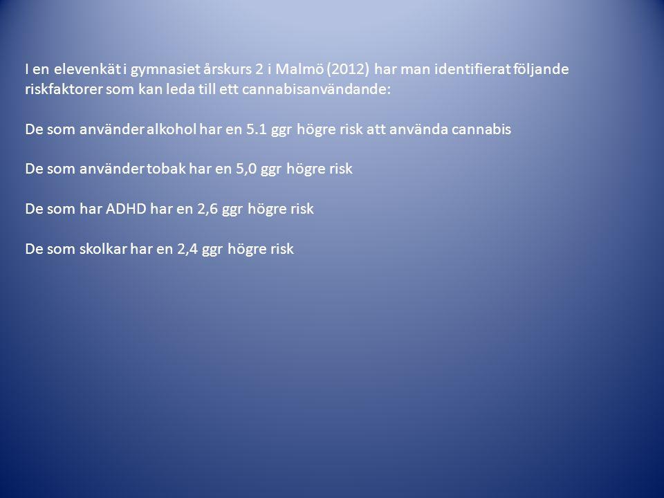 I en elevenkät i gymnasiet årskurs 2 i Malmö (2012) har man identifierat följande