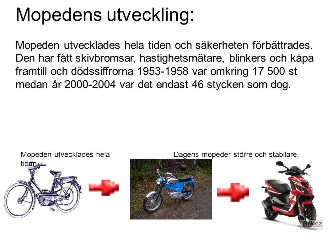 Mopedens utveckling: Mopeden utvecklades hela tiden och säkerheten förbättrades. Den har fått skivbromsar, hastighetsmätare, blinkers och kåpa framtill och dödssiffrorna 1953-1958 var omkring 17 500 st medan år 2000-2004 var det endast 46 stycken som dog.
