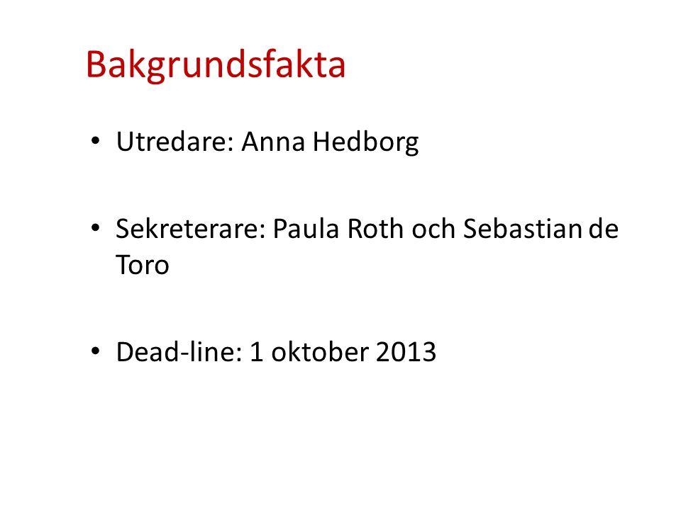 Bakgrundsfakta Utredare: Anna Hedborg