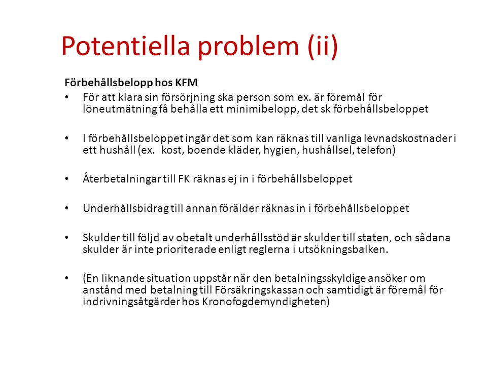 Potentiella problem (ii)