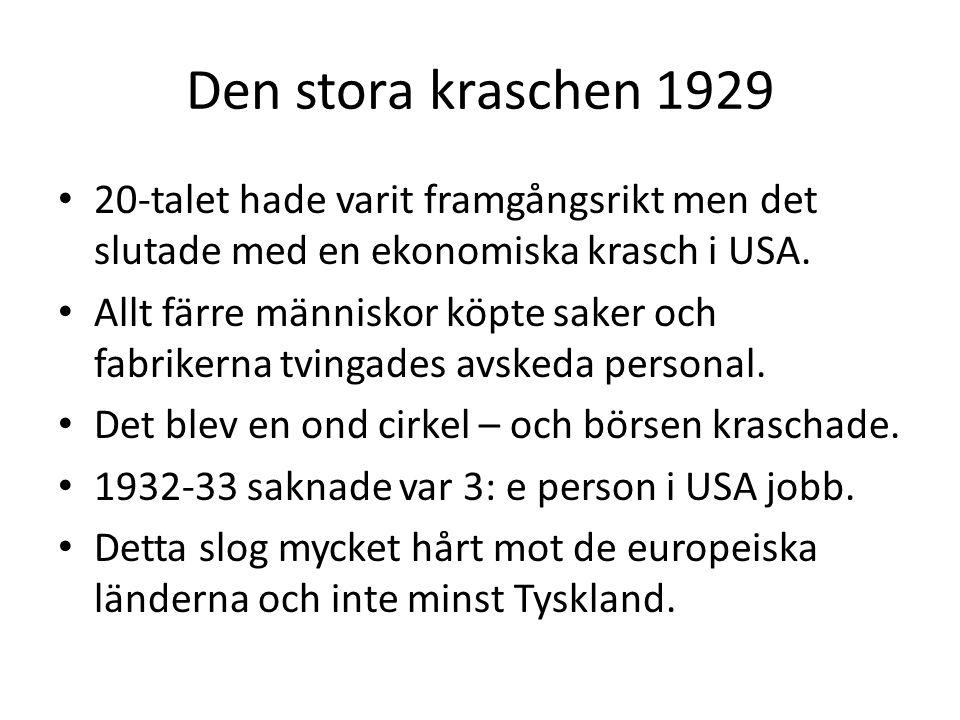 Den stora kraschen 1929 20-talet hade varit framgångsrikt men det slutade med en ekonomiska krasch i USA.