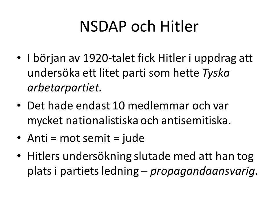 NSDAP och Hitler I början av 1920-talet fick Hitler i uppdrag att undersöka ett litet parti som hette Tyska arbetarpartiet.