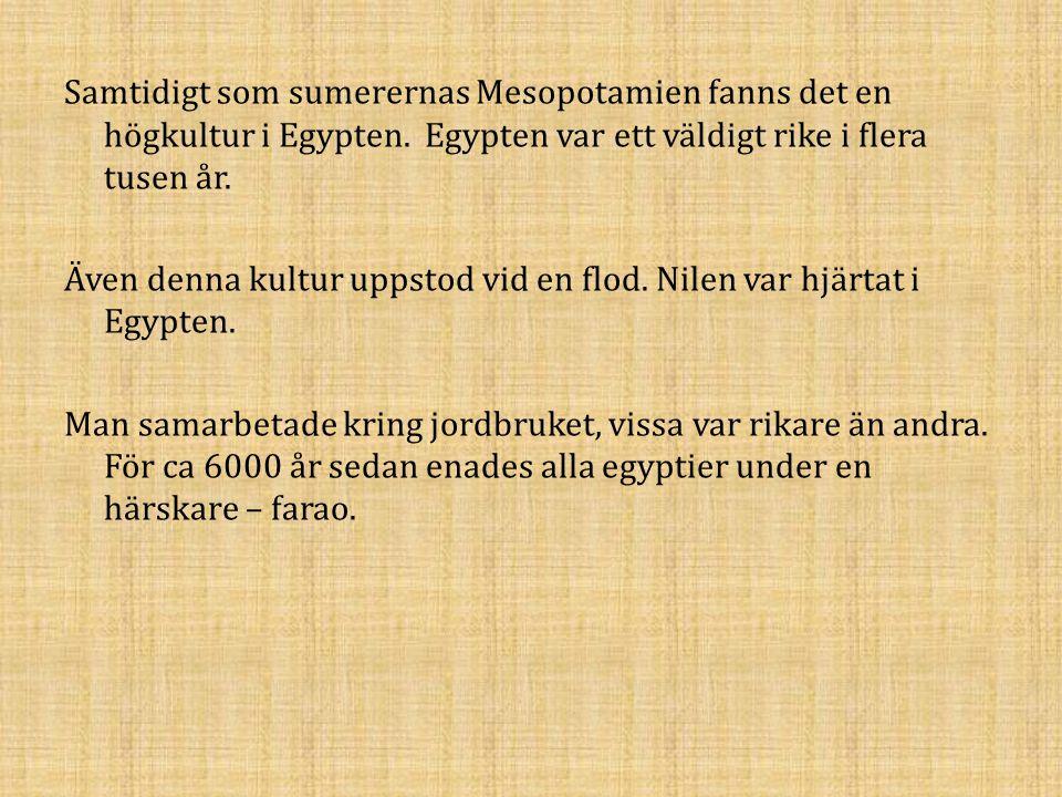 Samtidigt som sumerernas Mesopotamien fanns det en högkultur i Egypten