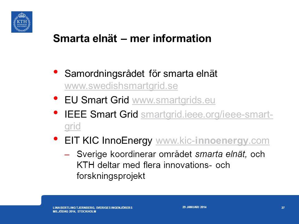 Smarta elnät – mer information