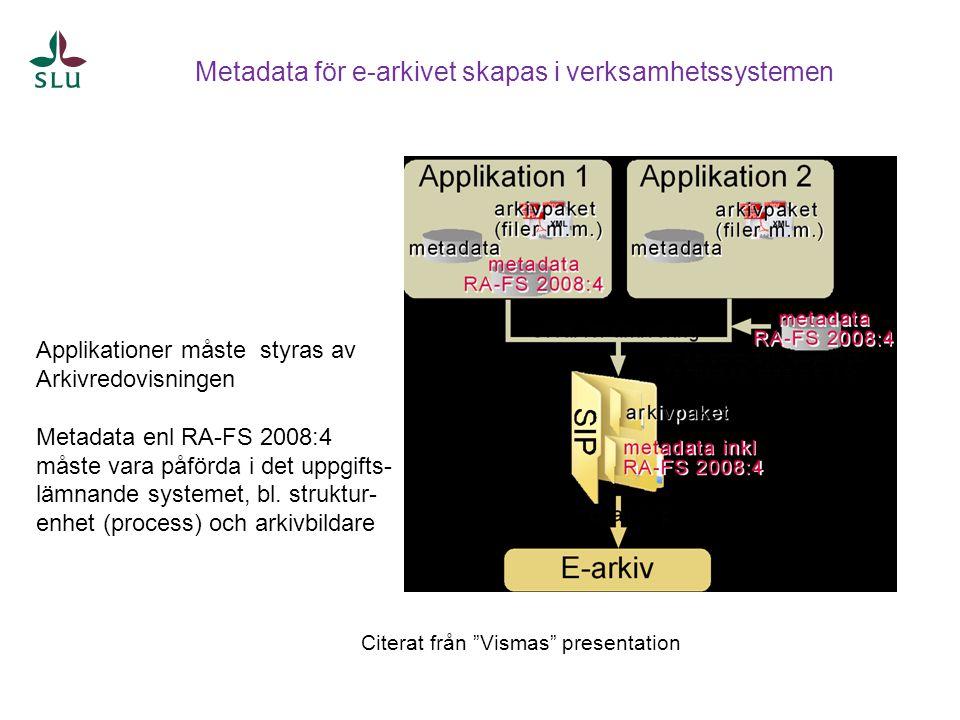 Metadata för e-arkivet skapas i verksamhetssystemen