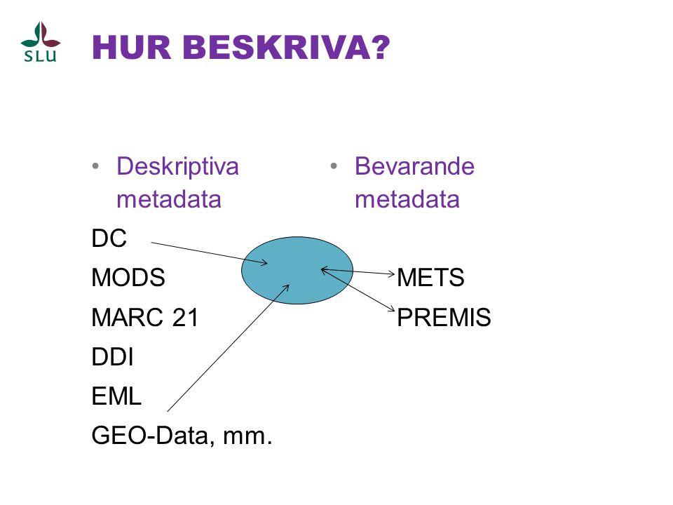 HUR BESKRIVA Deskriptiva metadata DC MODS MARC 21 DDI EML