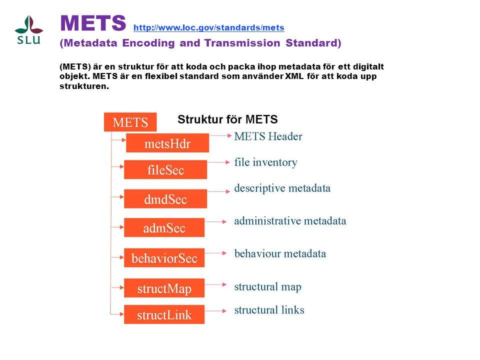 METS http://www.loc.gov/standards/mets (Metadata Encoding and Transmission Standard) (METS) är en struktur för att koda och packa ihop metadata för ett digitalt objekt.