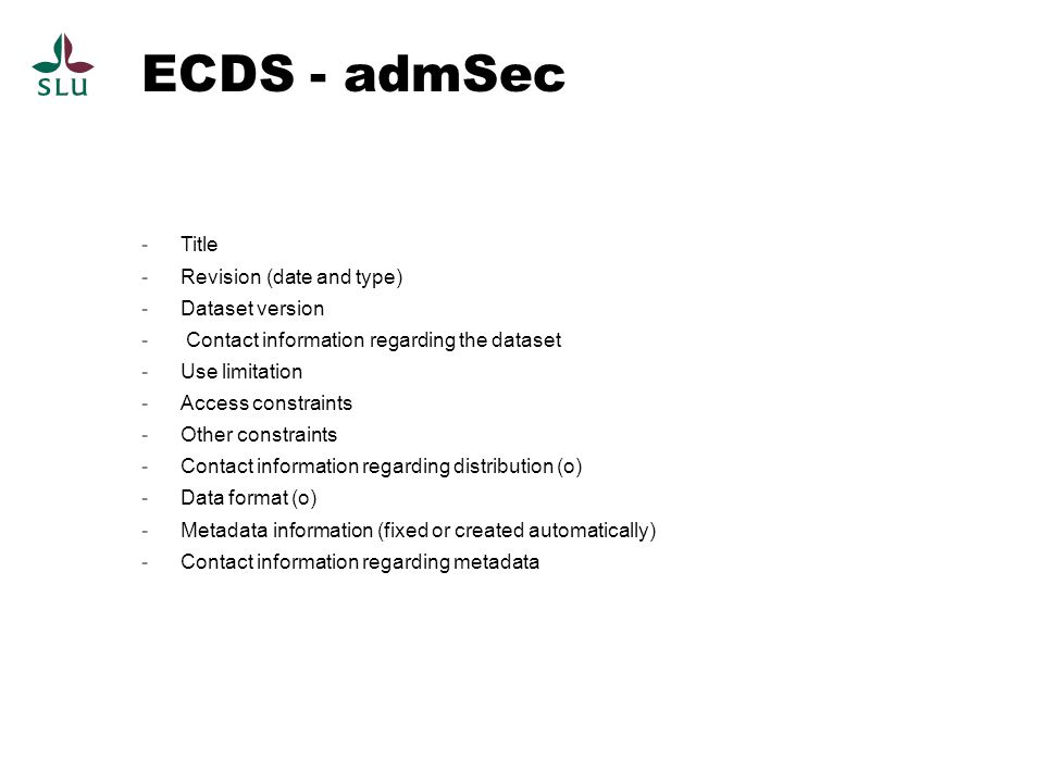 ECDS - admSec Title Revision (date and type) Dataset version