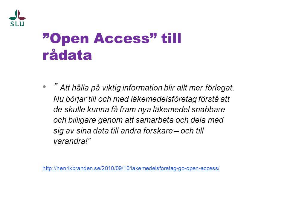 Open Access till rådata