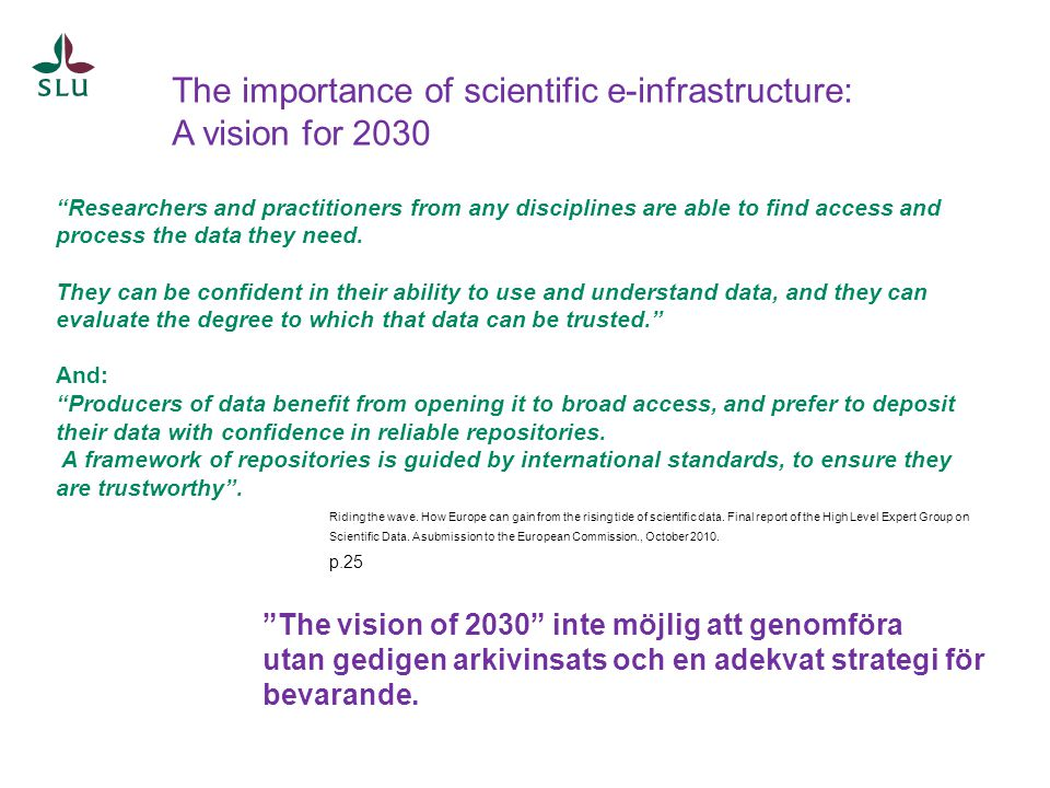 The importance of scientific e-infrastructure: A vision for 2030