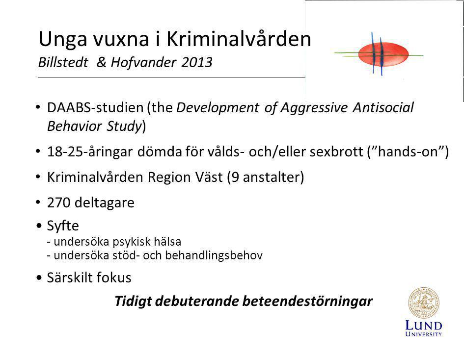Unga vuxna i Kriminalvården Billstedt & Hofvander 2013