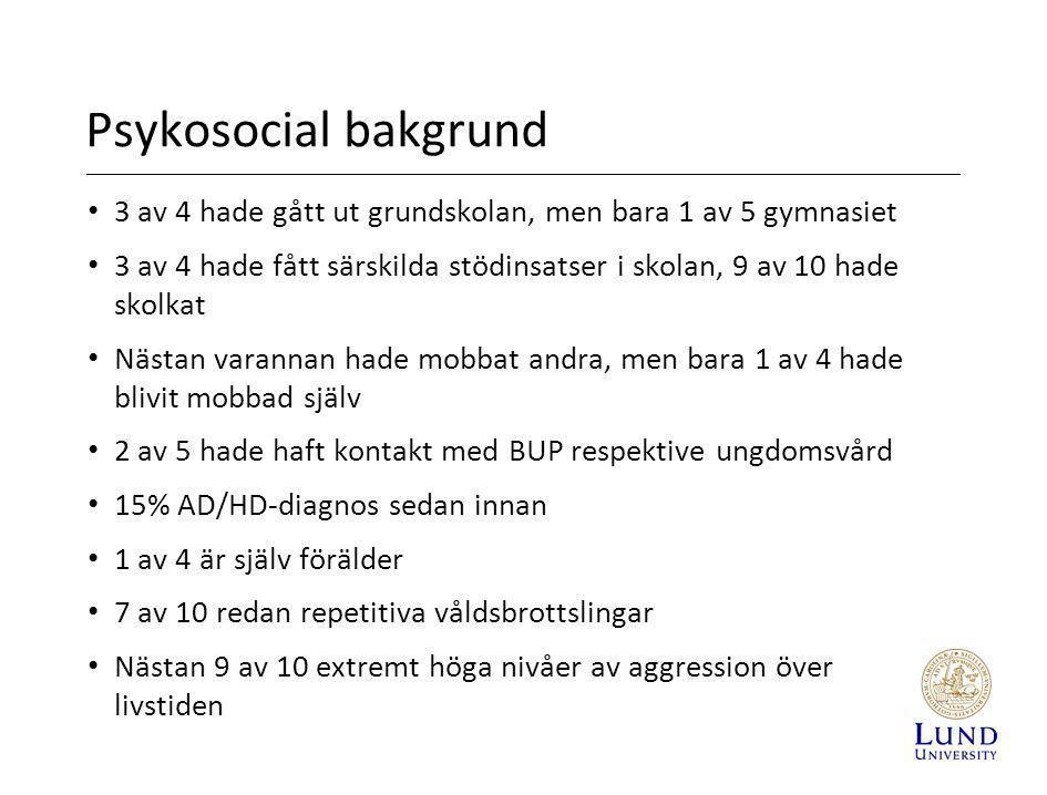 Psykosocial bakgrund 3 av 4 hade gått ut grundskolan, men bara 1 av 5 gymnasiet.