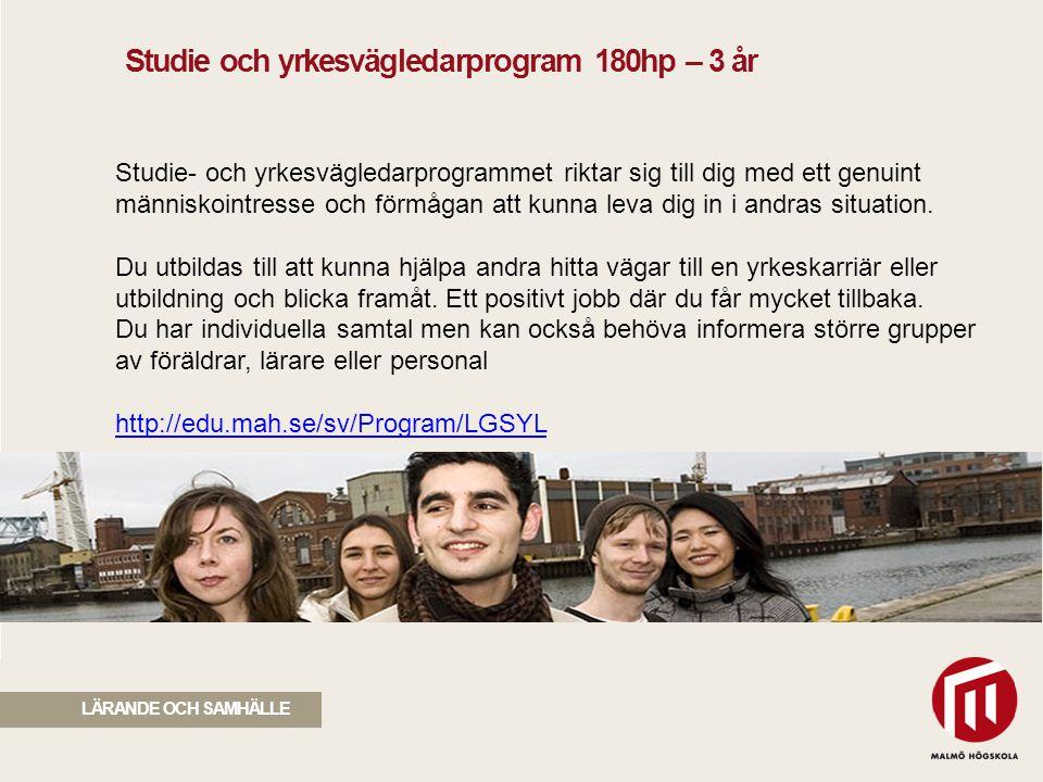 Studie och yrkesvägledarprogram 180hp – 3 år