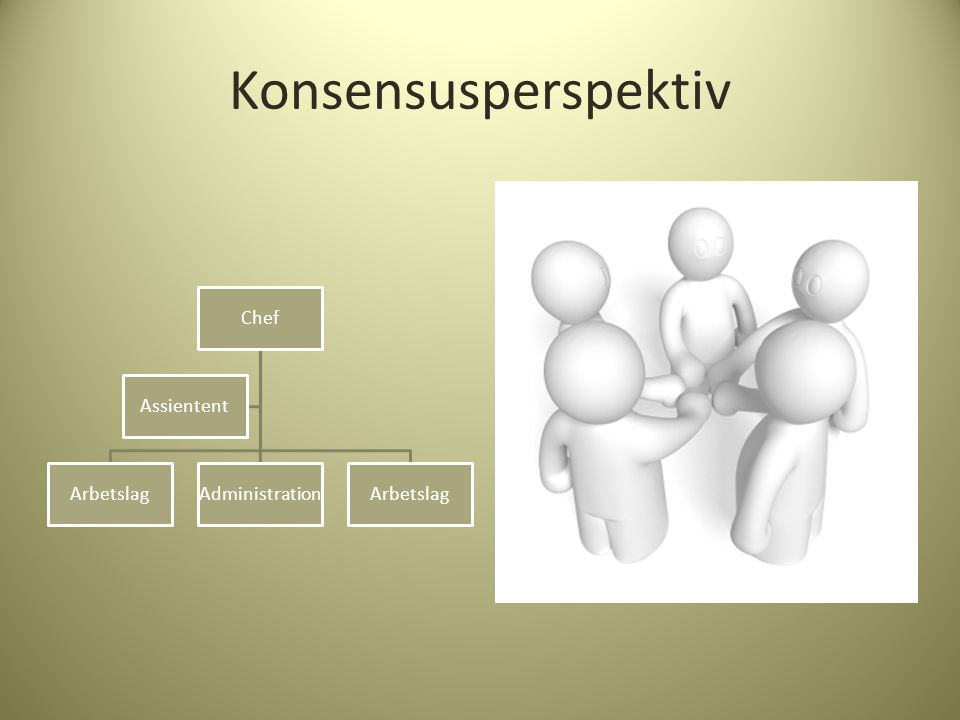 Konsensusperspektiv Chef Arbetslag Administration Assientent
