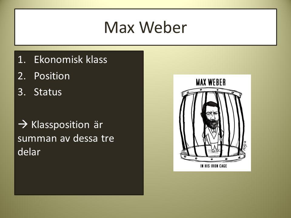 Max Weber Ekonomisk klass Position Status