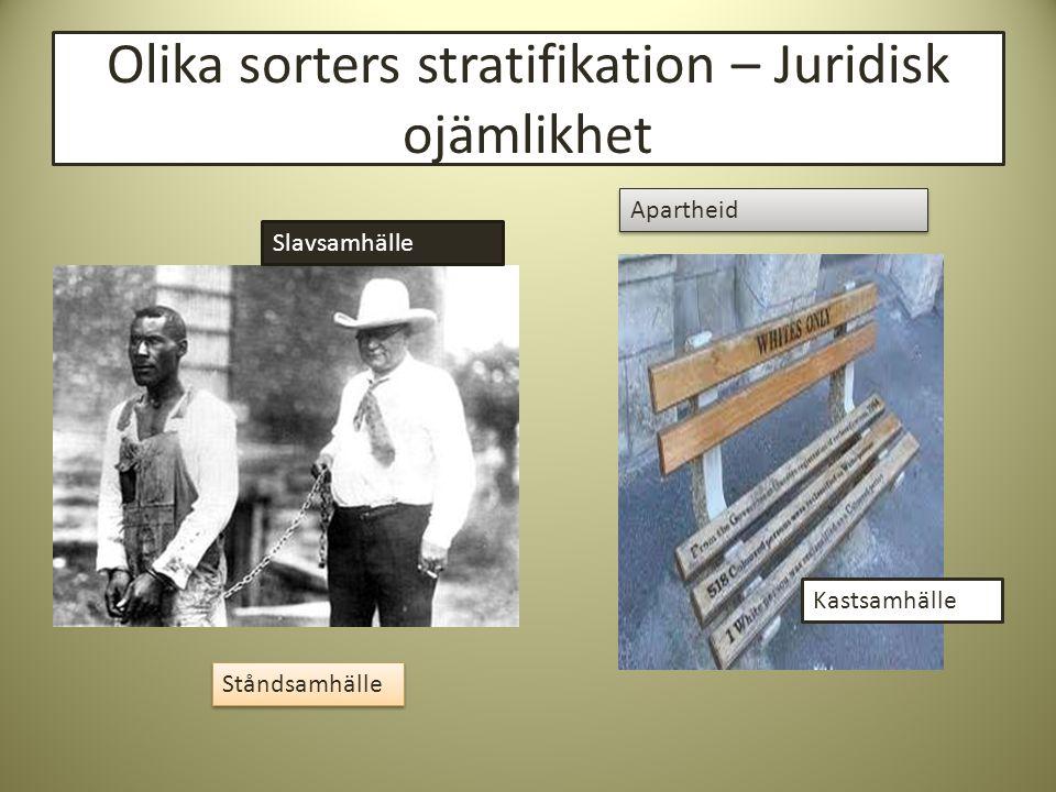 Olika sorters stratifikation – Juridisk ojämlikhet