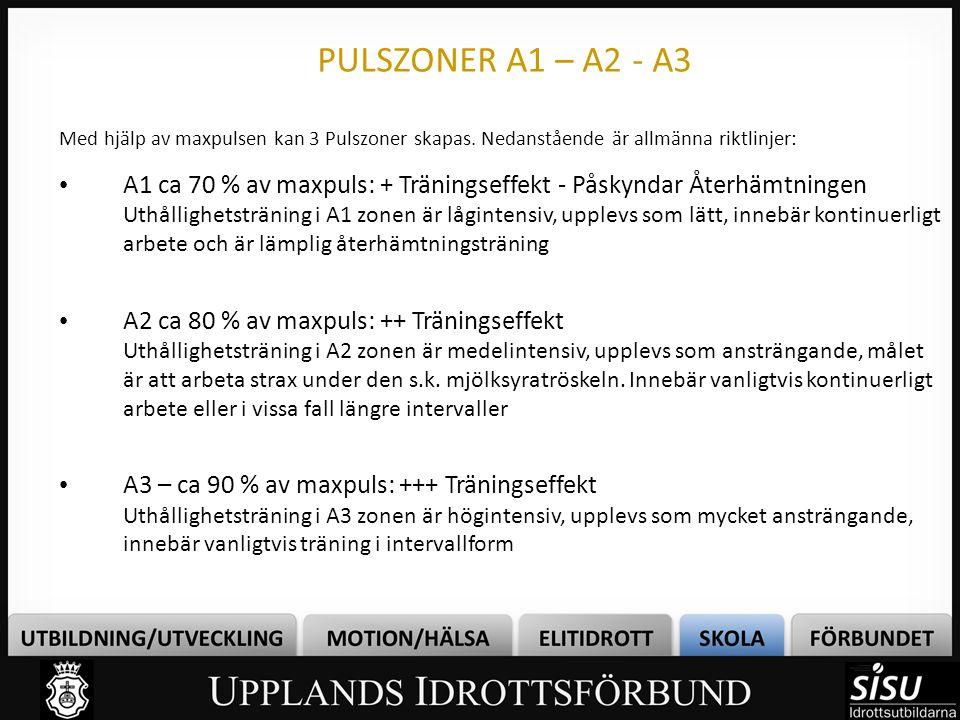 PULSZONER A1 – A2 - A3 Med hjälp av maxpulsen kan 3 Pulszoner skapas. Nedanstående är allmänna riktlinjer: