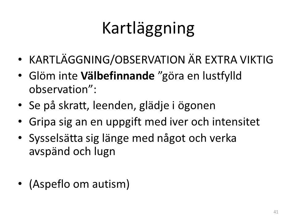 Kartläggning KARTLÄGGNING/OBSERVATION ÄR EXTRA VIKTIG