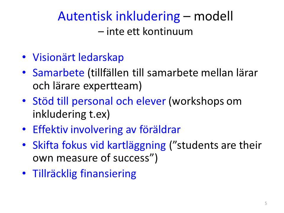 Autentisk inkludering – modell – inte ett kontinuum