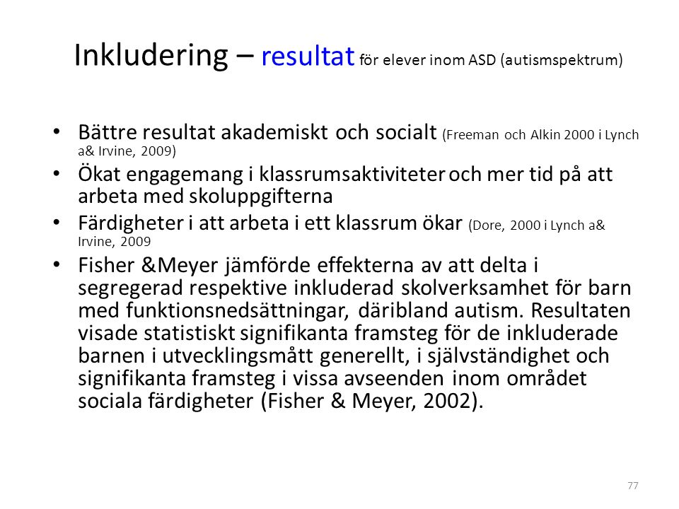 Inkludering – resultat för elever inom ASD (autismspektrum)