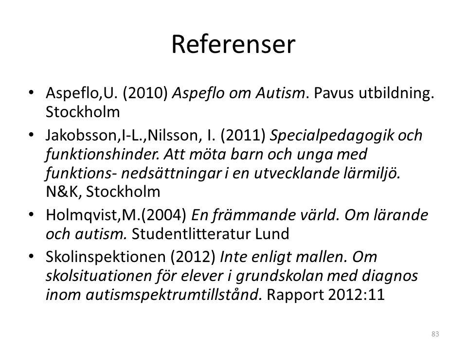 Referenser Aspeflo,U. (2010) Aspeflo om Autism. Pavus utbildning. Stockholm.