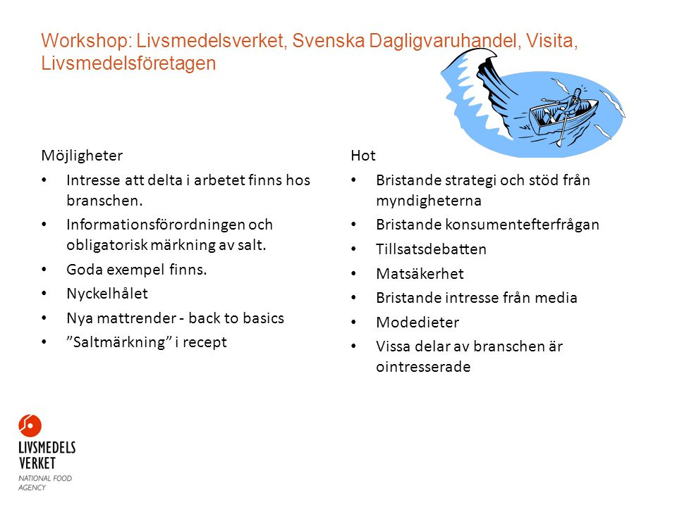 Workshop: Livsmedelsverket, Svenska Dagligvaruhandel, Visita, Livsmedelsföretagen