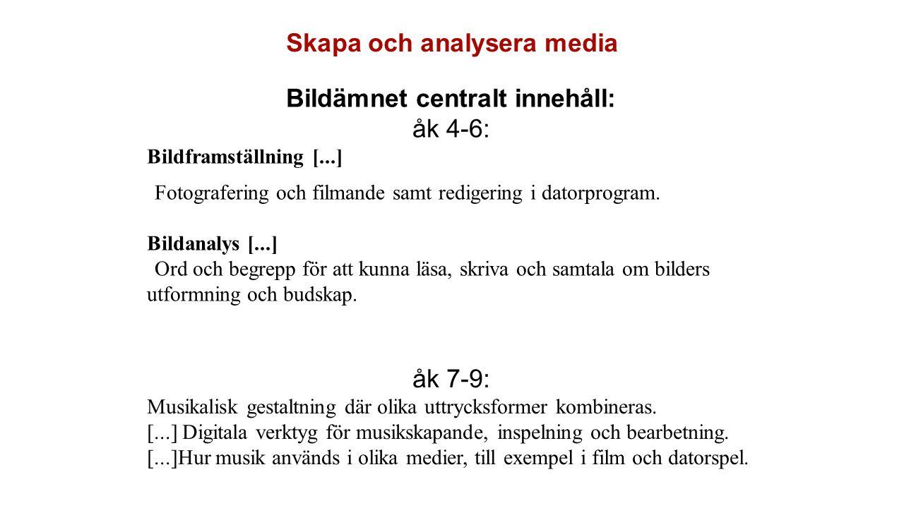 Skapa och analysera media Bildämnet centralt innehåll: