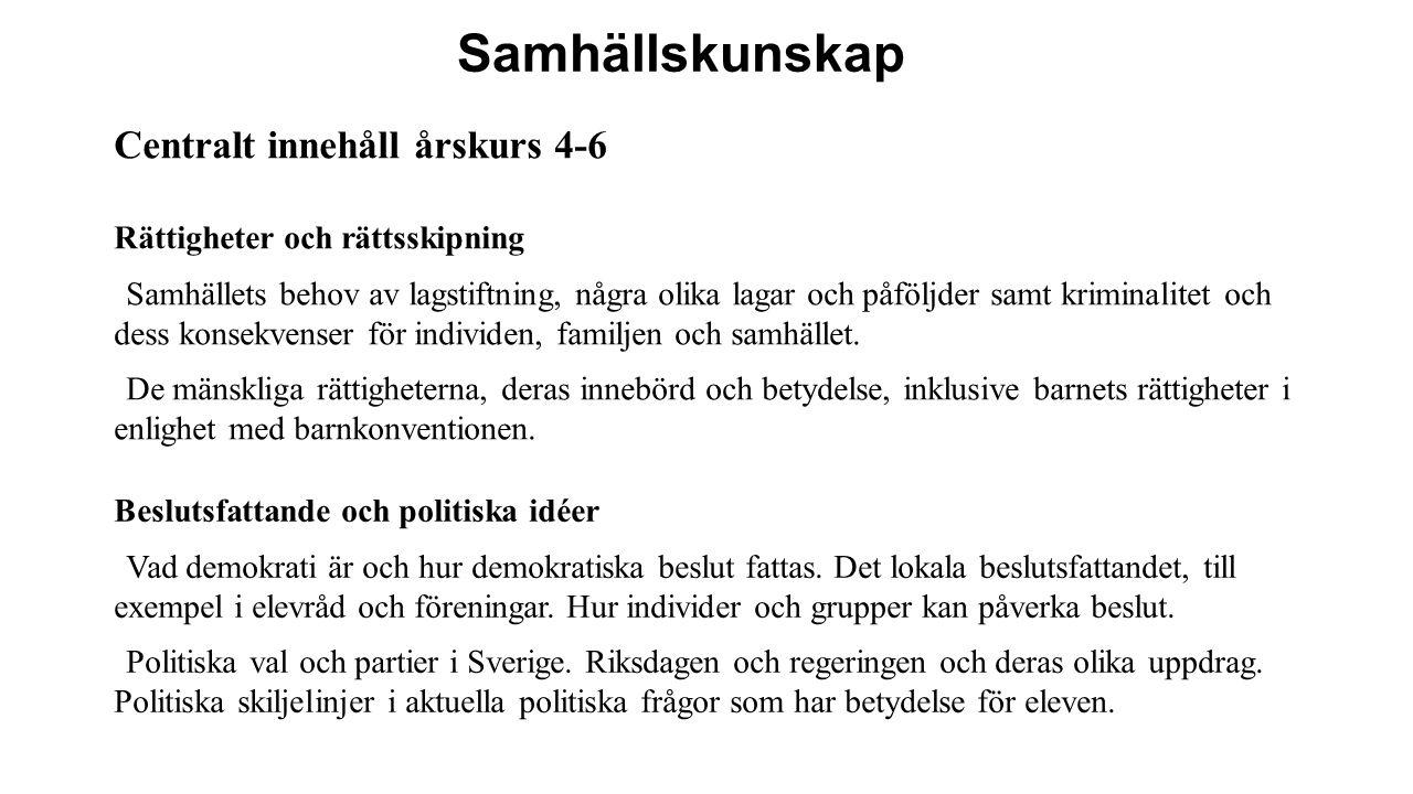 Samhällskunskap Centralt innehåll årskurs 4-6