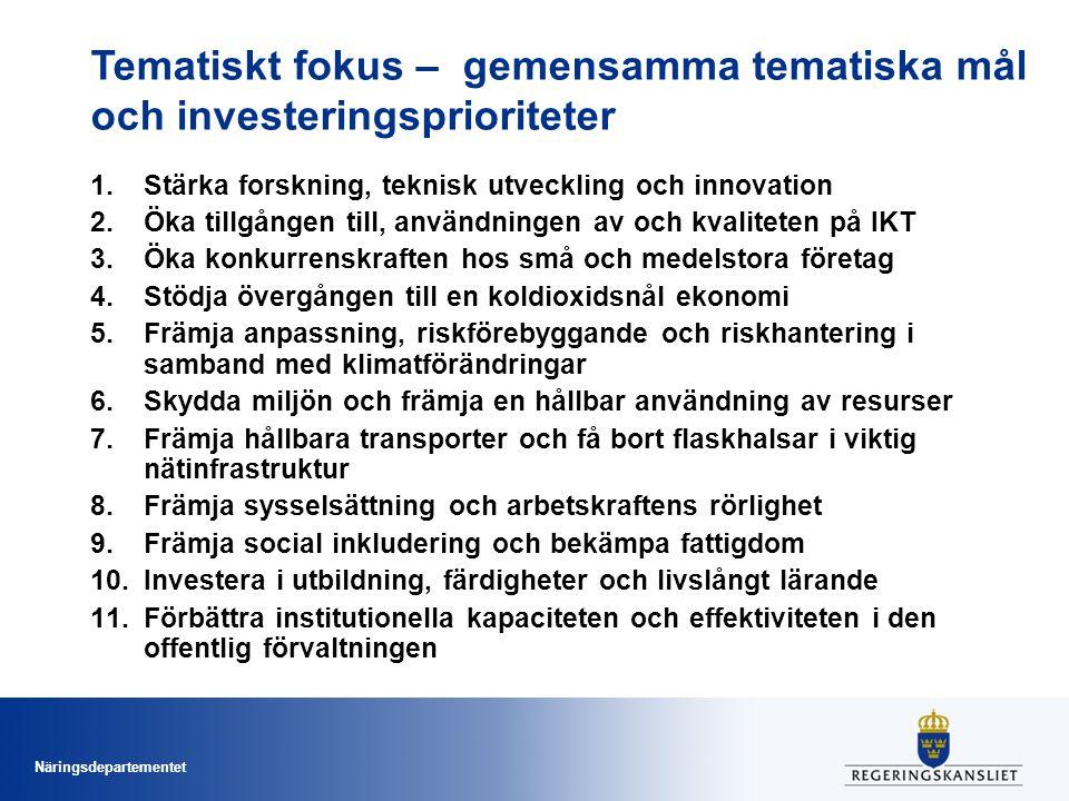 Tematiskt fokus – gemensamma tematiska mål och investeringsprioriteter