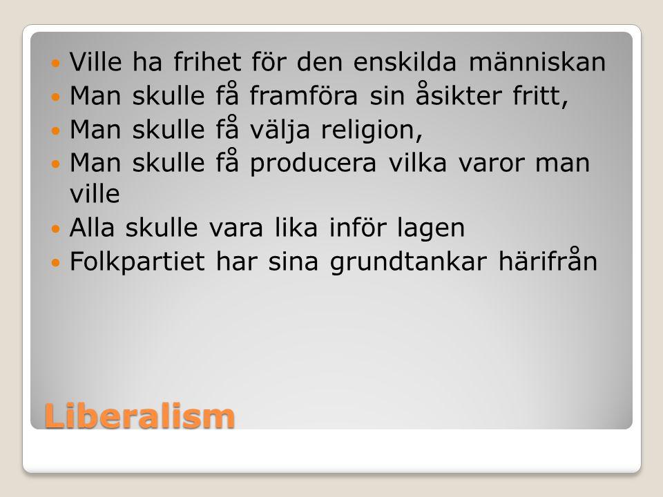 Liberalism Ville ha frihet för den enskilda människan