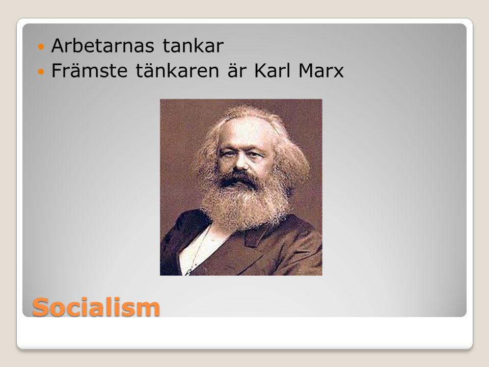 Arbetarnas tankar Främste tänkaren är Karl Marx Socialism