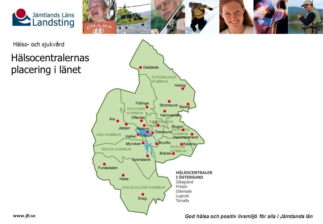 Hälsocentralernas placering i länet