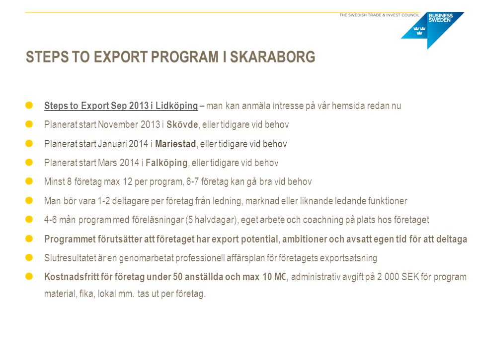 Steps to export program i skaraborg
