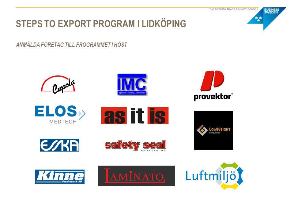 Steps to export program i lidköping Anmälda företag till programmet i höst