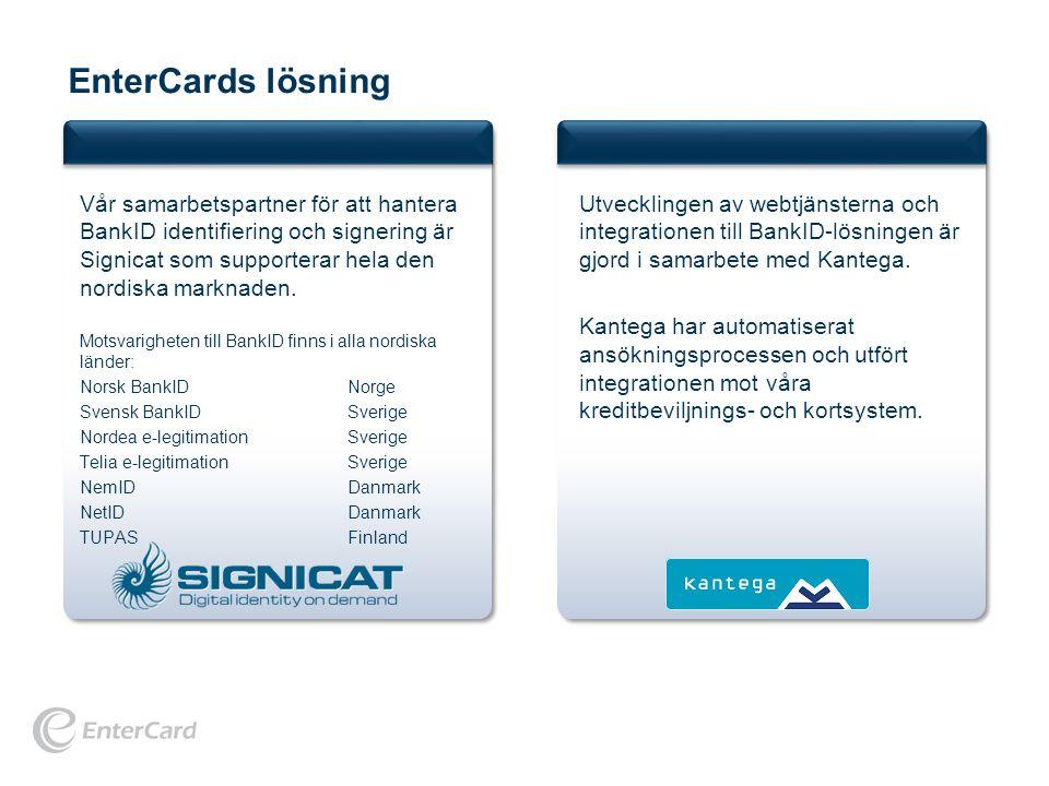 EnterCards lösning Vår samarbetspartner för att hantera BankID identifiering och signering är Signicat som supporterar hela den nordiska marknaden.