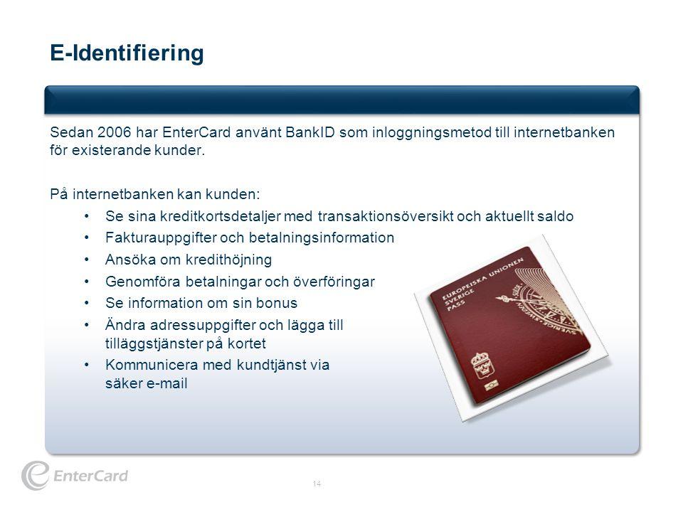 E-Identifiering Sedan 2006 har EnterCard använt BankID som inloggningsmetod till internetbanken för existerande kunder.